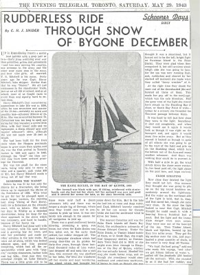 "Article entitled ""Rudderless ride through snow of bygone December"""