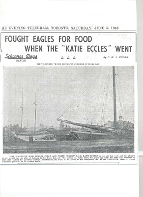 "Article entitled ""Fought Eagles for food when the Katie Eccles went"""