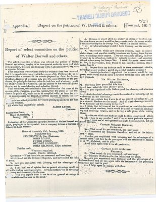 Copy of a Report on the petition of W. Boswell & others regarding the construction of a harbour in Cobourg