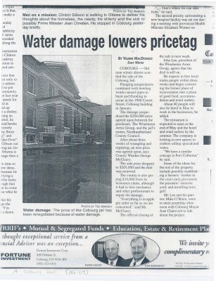 "Article entitled ""Water damage lowers price tag"""