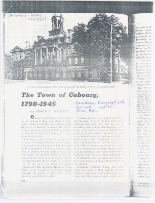 "Excerpt for Canadian Geographic entitled ""The Town of Cobourg, 1798-1945"""