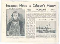 "Article entitled ""Important Notes in Cobourg's History."""