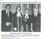 Article about the swearing in of John David Daniel Evans as provincial court judge.