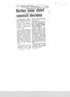 "Article entitled ""butler new chief council decides"""