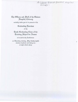 Invitation to the graduation exercises of the tenth graduating class of the training school for nurses.