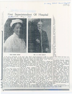 Article about the history of Miss Ethel Wood