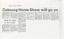 Article about the new structure chosen to govern the Cobourg Horse Show.