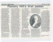 """Article titled """"Factory Hill's first settler""""."""