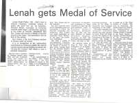 Article announcing that Lenah Fisher will be receiving a Medal of Service from the Order of Canada.