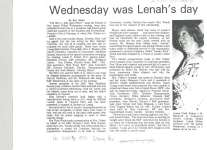 Article outlining a dinner held by the Business and Professional Women's Club of Cobourg to honour Lenah Fisher.