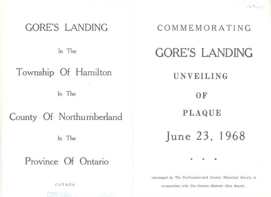 <b>Programme for the unveiling of the plaque to commemorate Gore's Landing.<b>