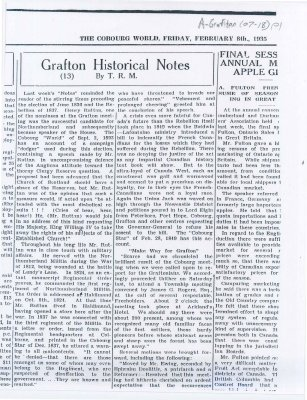 Actions taken in the Grafton area to sustain and support loyalty to the British Empire.