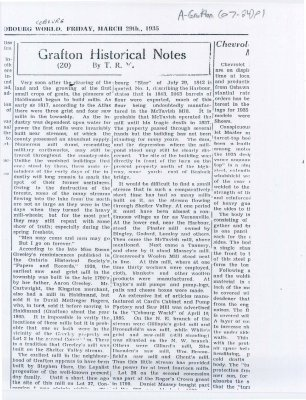 Article about the early mills of the Grafton area.