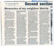 Article about Mattie Dunn a resident of Haldimand Township.
