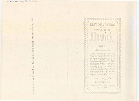 Voter's list for the Township of Alnwick, 1912