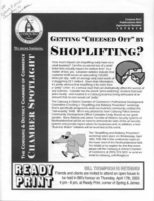 The Cobourg District Chamber of Commerce Chamber spotlight April – May 2003