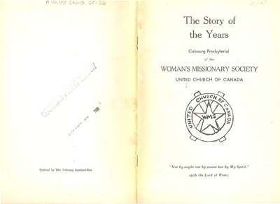 The Story of the Years- Woman's Missionary Society- United Church of Canada