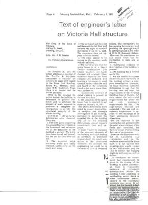 Text of engineer's letter on Victoria Hall structure