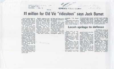 "$1 million for Old Vic ""ridiculous"" says Jack Burnet"