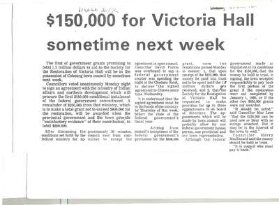 $150,000 for Victoria Hall sometime next week