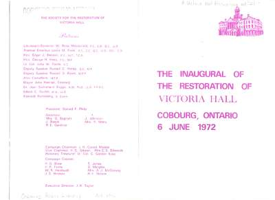The Inaugural Of The Restoration Of Victoria Hall