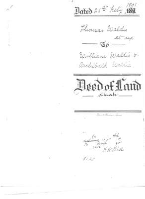 Deed of land from Thomas Waldie to William and Archibald Waldie