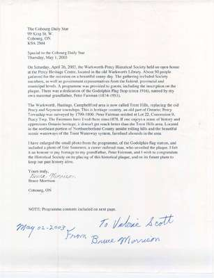 A letter regarding the open house at the Percy Heritage Centre and the dedication of the Godolphin Flag Stop