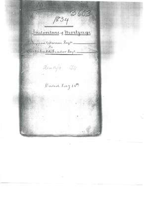 Indenture of Mortgage between Peregrine Warren and Archibald Fraser