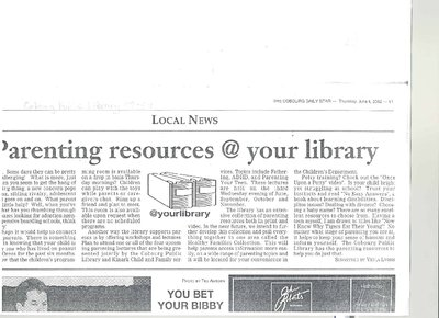 Article entitled, 'Parenting resources @ Your Library'