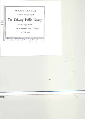 Public Invitation for the Opening of the Cobourg Public Library on Chapel St. on July 22, 1964