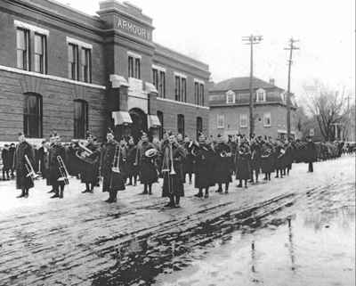 Veteran's funeral procession in front of the Armoury