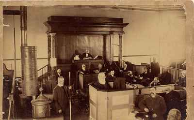 Possibly Cobourg Town Council in the Old Bailey Court room, Victoria Hall