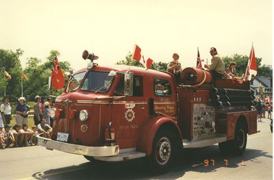 Scouts on Fire Engine in Canada Day Parade