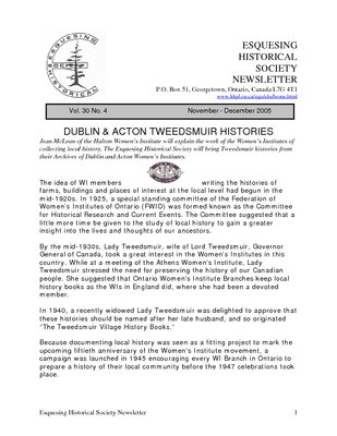 Esquesing Historical Society Newsletter November 2005