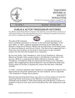 Esquesing Historical Society Newsletter November 2005