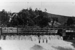 Swimmers below the dam
