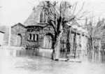 St. Alban's Anglican Church in flood 1965
