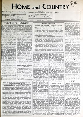 Home & Country Newsletters (Stoney Creek, ON), July 1933