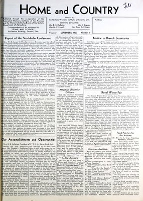 Home & Country Newsletters (Stoney Creek, ON), September 1933