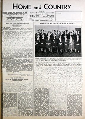 Home & Country Newsletters (Stoney Creek, ON), November and December 1933