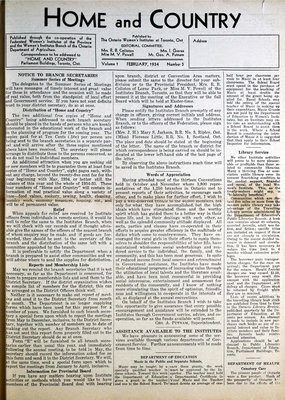Home & Country Newsletters (Stoney Creek, ON), February 1934