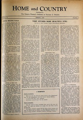 Home & Country Newsletters (Stoney Creek, ON), Spring 1945