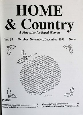 Home & Country Newsletters (Stoney Creek, ON), October, November, December 1991