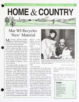 Home & Country Newsletters (Stoney Creek, ON), Spring 1994