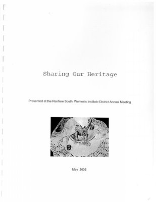 Renfrew South District Women's Institute: Sharing Heritage Book