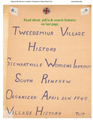 Stewartville WI Tweedsmuir Community History - Volume 1
