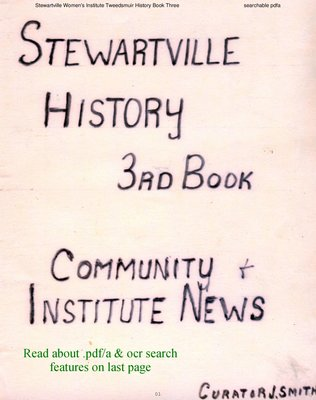 Stewartville WI Tweedsmuir Community History - Volume 3