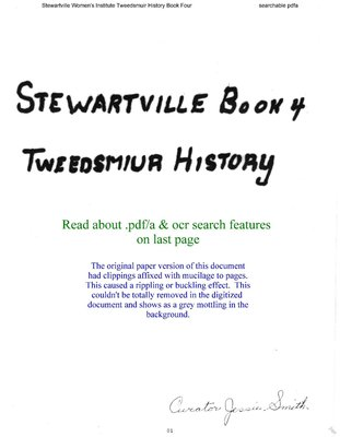 Stewartville WI Tweedsmuir Community History - Volume 4