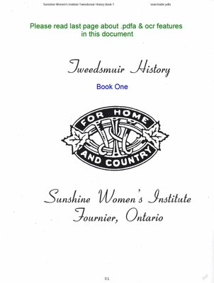 Sunshine WI Tweedsmuir Community History, Volume 1