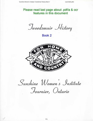 Sunshine WI Tweedsmuir Community History, Volume 2
